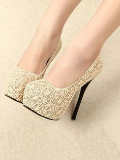 Elegant Fashion Pointed Toe Lace Detail High Heel Shoes Item … - $32.37 on @ClozetteCo