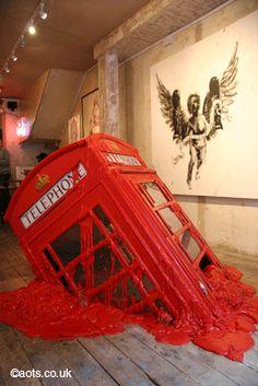 banksy art telephone booth