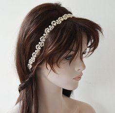 Bridal Pearl Headband Wedding  Hair Accessories  Pearl by ADbrdal