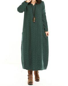 Women Cotton Linen Dress Loose Dress Autumn Dress Long Sleeve Dress Large Size Dress