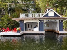 Love the swim dock/deck Muskoka Living Interiors Lake Dock, Boat Dock, Dock House, Haus Am See, Lakeside Living, Floating House, Floating Dock, Lake Cabins, Lake Cottage