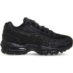 Nike Air Max 95 mesh trainers ($132) ❤ liked on Polyvore featuring shoes, black mesh shoes, nike athletic shoes, synthetic shoes, nike footwear and traction shoes