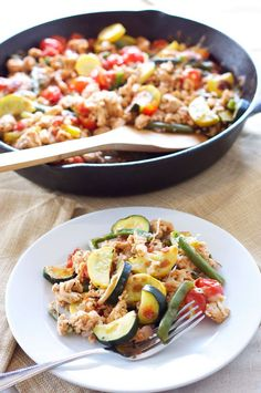 Turkey and Vegetable Skillet |Recipe Runner | My go to easy dinner when I don't feel like cooking! #turkey #glutenfree