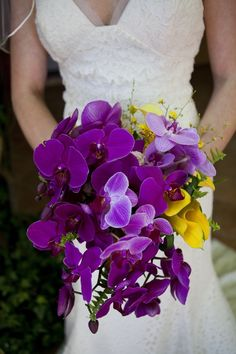 Purple And Yellow Wedding Flowers French - purple and yellow flower arrangements Yellow Wedding Flowers, Bridal Flowers, Flower Bouquet Wedding, Yellow Flowers, Floral Wedding, Purple Yellow, Trendy Wedding, Wedding Ideas, Wedding Stuff