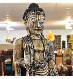 buddha figur stehend holz weiss 113cm schutzgeste einzelstuck