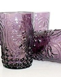 Set of 4 Lavender Fleur de Lis Embossed Glasses-purple, lilac, table,setting,glass,juice,wine,water, French,