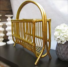 rattan magazine rack - spraypainted gold!!