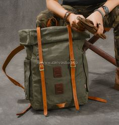 Canvas Rucksack Backpack