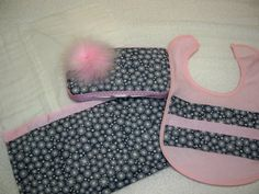 Pink and Grey 3 Piece Baby Girl Gift Set by grinsandgigglesbaby1, $19.99