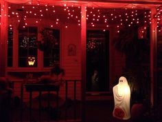 How she loves to decorate for the holidays. This is the front porch for Halloween!