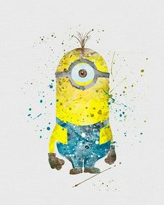 Watercolor - Minion! He may not be Disney but he sure cute