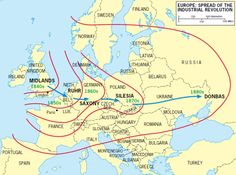Spread of the industrial revolution in Europe.