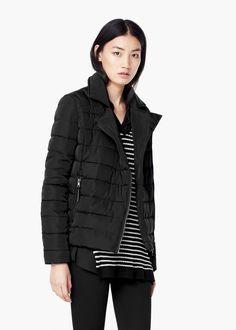 Side-zip quilted coat -  Women | MANGO