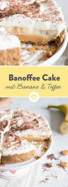 Nur ohne Backen kann aus Bananen, Toffee, Sahne auf einem knusprigem Vollkornkeksboden ein echter Banoffee Cake werden!