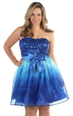 Deb Shops plus size sequin #ombre strapless party dress #prom
