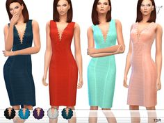 The Sims Resource: Studded Detail Dress by ekinege • Sims 4 Downloads