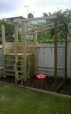 outdoor play area for kids – Kids' Playground . Kids Climbing Frame, Wooden Climbing Frame, Climbing Wall, Garden Climbing Frames, Rock Climbing, Backyard Playground, Backyard For Kids, Playground Ideas, Espalier