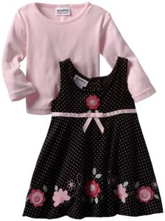 Amazon.com: Blueberi Boulevard Baby-girls Infant Flowers Printed Brown Cord Jumper With Knit Top, Black, 12 Months: Clothing