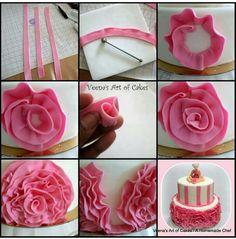 Fondant ribbon rosettes