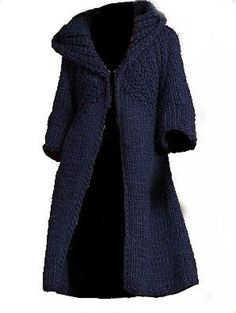 Hand Knit Coat Long Jacket With Large Hood by tvkstyle on Etsy, $290.00