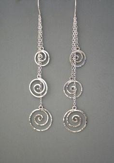 Sterling silver spiral long dangle earrings by rachelwilder #handmadejewelry