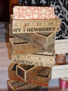 business card holders from vintage yardsticks