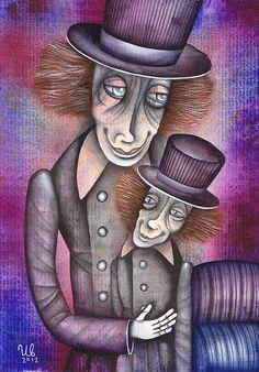 Clown with Puppet by Eugene Ivanov #cirque #circus #clown #clownery #illustration #eugeneivanov #@eugene_1_ivanov