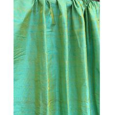 Sea Blue & Gold 100 Percent Pure Silk Dupioni Grommet Unlined Curtain Decor and Housewares Window Treatment Drapes Panels Home Decor