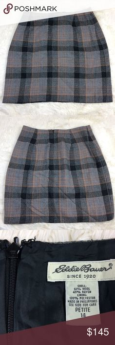 "Grey Black Tan Plaid Skirt by Eddie Bauer sz Med Plaid skirt by Eddie Bauer. Please see measurements. Women's sz 14 petite. Good used condition. No pilling or wash wear. Hidden zipper.  Wool blend.  Measurements are taken laying flat  Waist 14.5"" Hips 20.5"" Total length 19"" Eddie Bauer Skirts Mini"