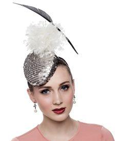 Fashion hat Pewter Sequin Headpiece