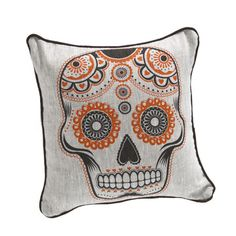 Sugar Skull 18x18 Oatmeal Orange now featured on Fab.