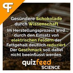 Endlich ohne schlechtes Gewissen naschen ;)  Gesündere Schokolade durch Wissenschaft. Im Herstellungsprozess wird durch den Einsatz von elektrischen Feldern der Fettgehalt deutlich reduziert. Der Geschmack soll dabei nicht beeinflusst werden.