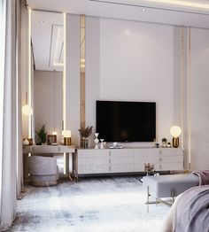 Master Bedroom Layout, Bedroom Tv Wall, Master Bedroom Interior, Room Design Bedroom, Bedroom Furniture Design, Home Room Design, Home Decor Bedroom, Bedroom With Tv, Modern Luxury Bedroom