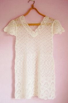 Etsy Shop; dawnbrita's Hand knitted white lace blouse.