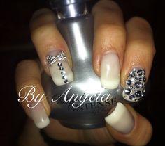 #white #French #bow #strass #wedding #nail #art