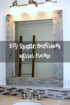The easiest DIY rustic mirror frame to add character to any room of your home or business. Use old pallet boards for a perfect DIY rustic mirror. Diy Mirror Frame Bathroom, Rustic Bathroom Mirrors, Wood Framed Mirror, Rustic Bathrooms, Bathroom Wall Decor, Bathroom Ideas, Bathroom Vanities, Small Bathroom, Bathroom Storage