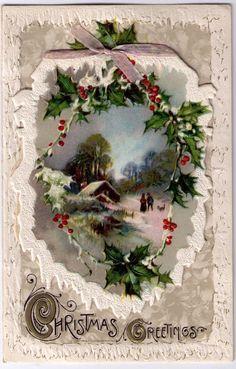 Vintage Christmas Postcard, Lovely Winter Scene, Flip up Front, Pre 1920, unused