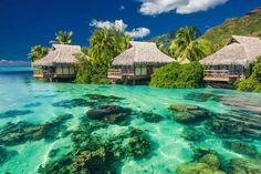Isla de Moorea, su arrecife coralino y sus cabañas - Proporcionado por Ceslovas Cesnakevicius