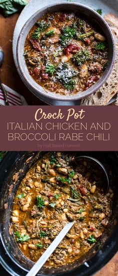 Crockpot Italian Chicken and Broccoli Rabe Chili | Here Are 7 Weeknight Dump Dinners You Can Make In Your Slow Cooker @buzz