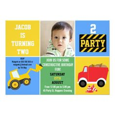 Boys Construction Birthday Invitation