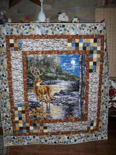 love this idea for a panel quilt border from the Quilting Board Horse Quilt, Landscape Quilts, Borders For Quilts, Quilt Boarders, Quilting Ideas, Quilting Board, Quilting Projects, Fabric Panels, Border Ideas