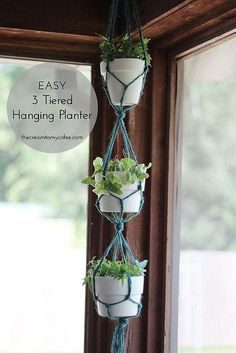 The Cream to My Coffee: Easy Hanging Planter Macrame Hanging Planter, Macrame Plant Hangers, Hanging Planters, Hanging Gardens, Mason Jar Plants, Plants In Jars, Cactus Plants, Mason Jars, Air Plants