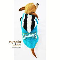 Jax Jaguars Dog Hoodie AFL Football Pet Jersey handmade crocheted and designed by Myknitt. #handmade #DIY #chihuahua #crochet #knit #pets #dogs