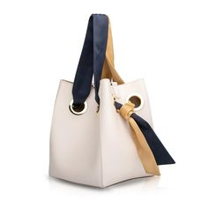Ribbon Handle Bucket Bag - Cream | Unitude Leather Bags for Women