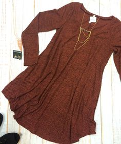A long sleeve t-shirt dress is a staple for layering and being oh-so trendy! 🍂 #xoxoAL4You #terracotta #tshirtdress #falllayers #shopALB Lovin' Terra-Cotta T-Shirt Dress $39 Layers of Iridescent Necklace $19 Get yours today through our JotForm! http://form.jotform.us/form/52044697810154