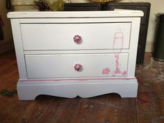 Small chest of drawers hand painted wine glass (commission) By Home Revival