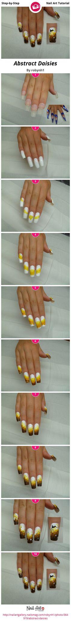 Abstract Daisies by robynh1 - Nail Art Gallery Step-by-Step Tutorials nailartgallery.nailsmag.com by Nails Magazine www.nailsmag.com #nailart