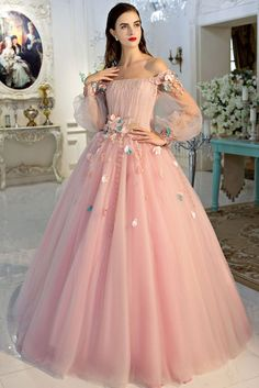 Elegant pink tulle off shoulder prom dress evening gown