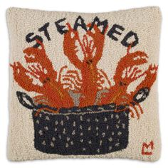Red Lobster Hooked Pillow