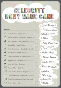 celebrity baby name game -- baby shower game